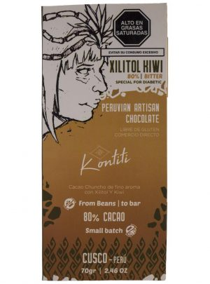 Chocolate bar with Xylitol and Kiwi 70gr